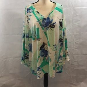 Alfani NWT 3X long sleeve blouse Floral Print